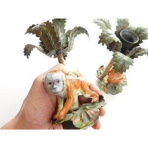 Vintage Accents - Vintage Monkey and Palm Tree Candle Holder Ceramic